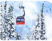 Out of the Trees - Whistler / Blackcomb Peak to Peak Gondola Watercolour Art Print via ETSY