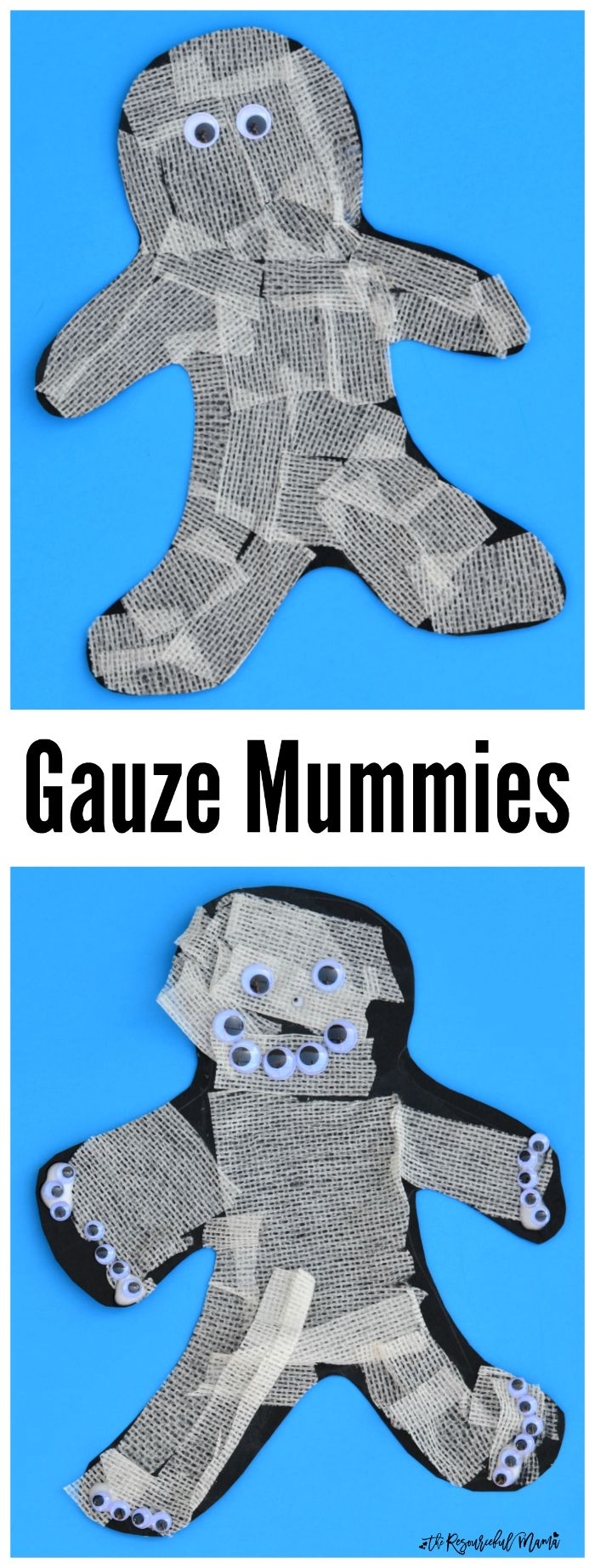 These gauze mummies are simple and fun Halloween craft for kids.