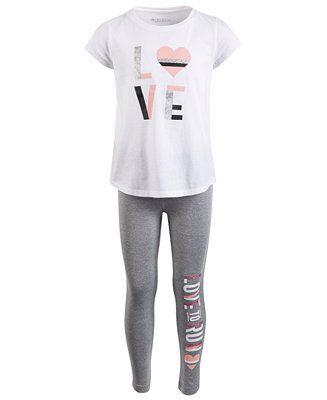 638a8f8c Ideology Little Girls 2-Pc. Graphic-Print T-Shirt & Leggings Set ...