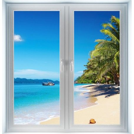 Tropical wall murals tropical beach instant window for Beach window mural