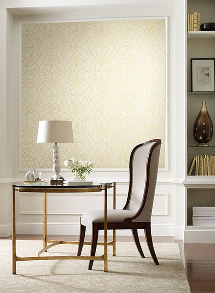 The glamour of glass beads lends high style to this luminous wallcovering. The modestly radiant field is embellished with a glistening labyrinth of beaded lines