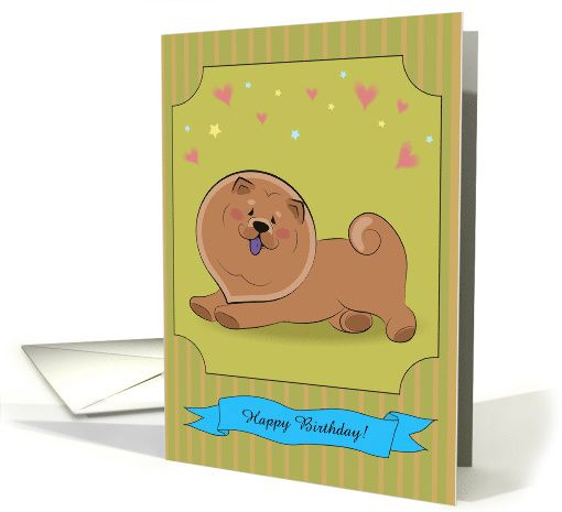 Cute puppy Chow-chow with hearts and stars. Happy birthday card