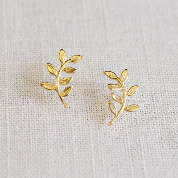 olive branch . leaf stud earrings