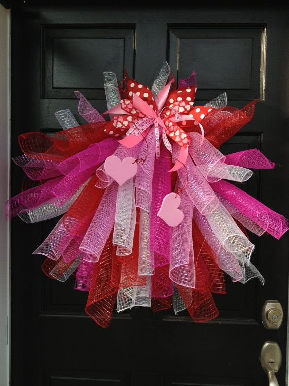 Mesh Valentines Wreath Valentines Wreath by TheHolidayBowtique, $130.00