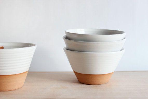 Pottery soup bowl, four white ceramic bowls, ice cream dish, handmade modern pottery