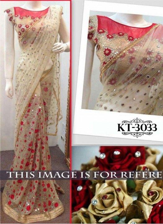 New Cream & Red Nylon Net Designer Saree