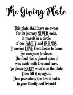 Image Result For The Giving Plate Poem Printable Recipes