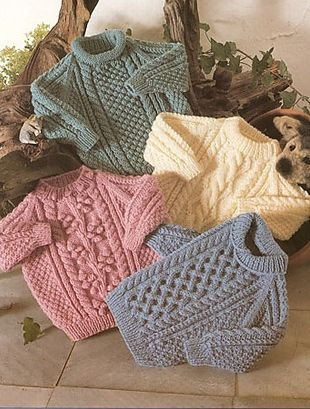 Instant PDF Digital Download Vintage Knitting Pattern 4175 4 Baby Toddler Children s Aran Sweaters Jumpers Chest 18-28 If you would like a SUPER