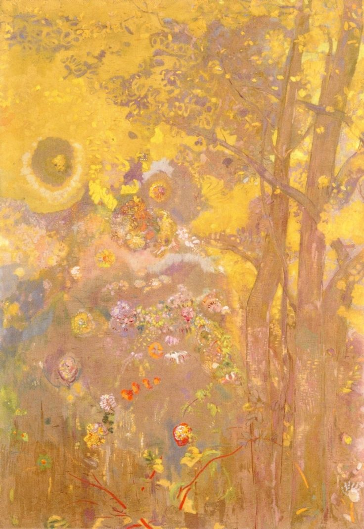 Tree on Yellow Background Odilon Redon - 1900-1901 https://uk.pinterest.com/susiepanesar/odilon-redon/