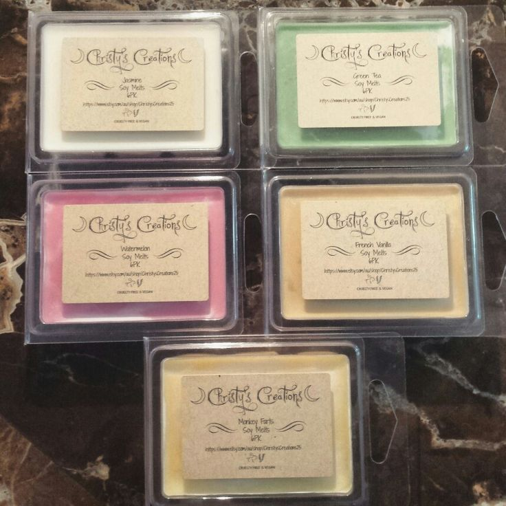 Soy melts in assorted fragrances now available at Christy's Creations ✌  Jasmine, Green Tea, Watermelon, French Vanilla, Monkey Farts.  80g pack, breaks into 6 melts.   #soymelts #assortedfragrances availablenow #jasmine #greentea #watermelon #frenchvanilla #monkeyfarts #etsy #handmade #crueltyfree #vegan #visitmystore