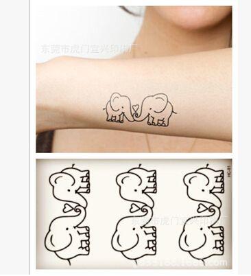 Etiqueta Engomada Del Tatuaje temporal A Prueba de agua Pequeño beso pareja elefante animal Harajuku invierno playa brazo mano pie Tranfer Body Art