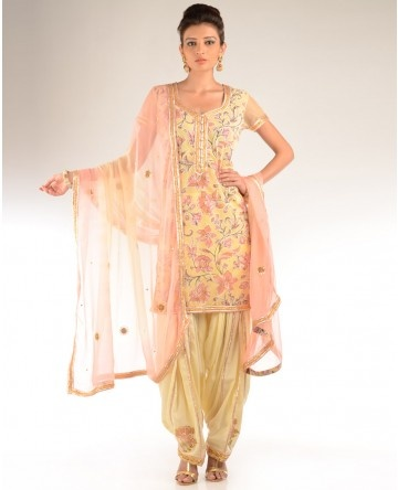 Butter Yellow and Peach Floral Printed Salwar Suit