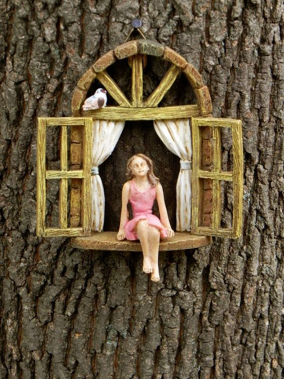 miniature garden girl no wings mini garden accessory girl sitting in miniature window. Black Bedroom Furniture Sets. Home Design Ideas