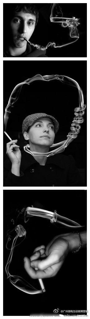 [how creative] anti-smoking photos made of smoking