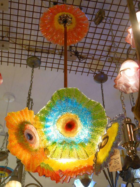 blown glass chandelier glass chandelier custom lighting hand blown glass flower - Blown Glass Chandelier