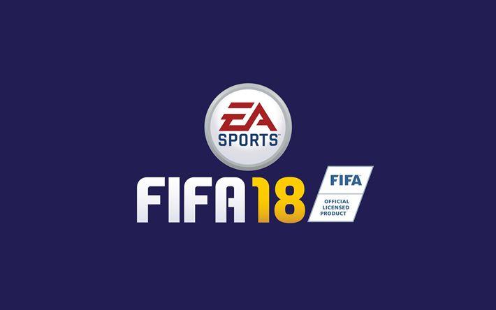 Herunterladen hintergrundbild fifa-18, logo, 2017-spiele, fußball-simulator