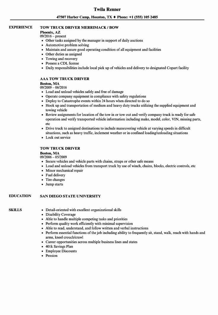 Delivery Driver Job Description Resume Fresh 10 Truck