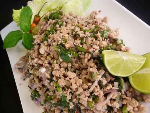 Thai Larb Spicy Chicken Salad (Laab Gai) Made chicken lettuce wraps ...