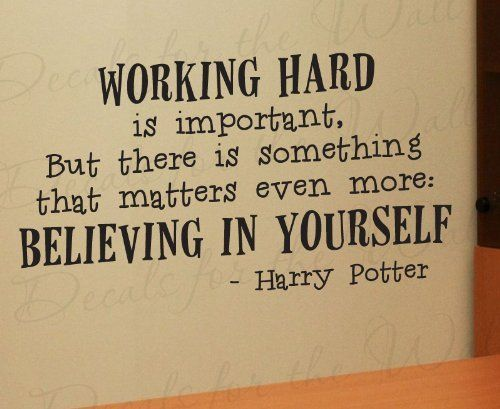 Harry Potter Working Hard - Girl's or Boy's Room Kids School Studying - Adhesive Vinyl Wall Decal Decoration, Quote Design Lettering Decor, Saying Sticker Art by Decals for the Wall, http://www.amazon.com/dp/B0066V8E8M/ref=cm_sw_r_pi_dp_efnlrb07PSJE7