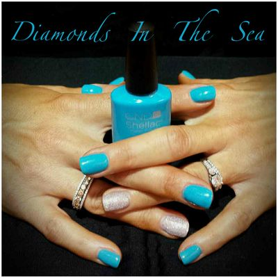 CND's Acrylic Overlay with Shellac Manicure in Cerulean Sea.