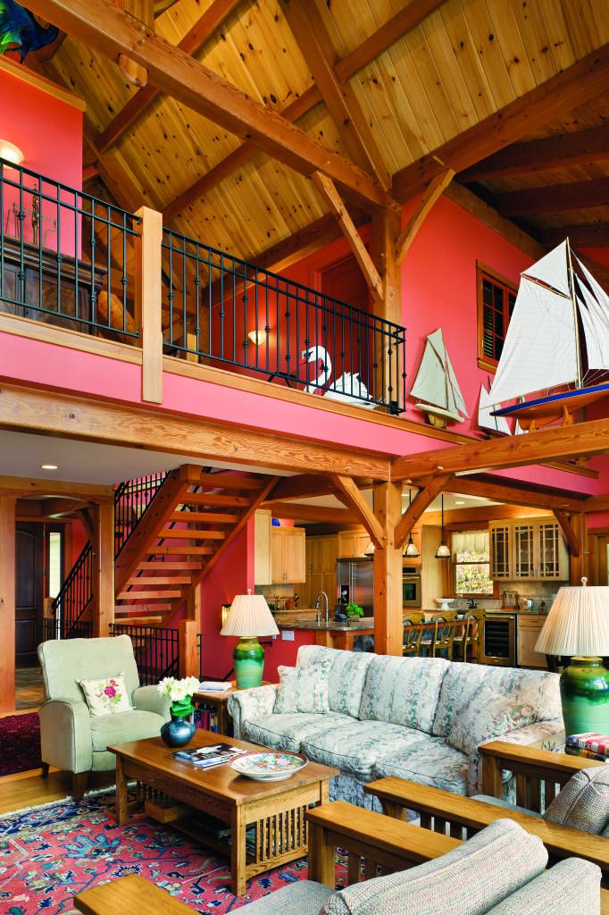 Нью-Йорк древесина домой большая комната красные стены парусная мебель