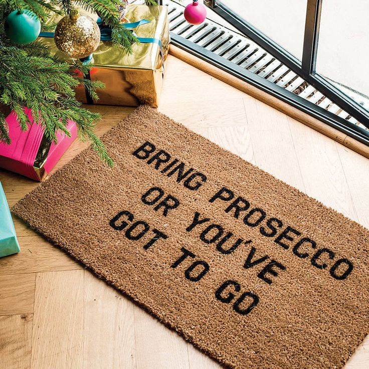 This doormat is just perfect for us Prosecco lovers. A perfect Christmas gift. 'Bring Prosecco or You've Got To Go'Designed by, and exclusive to, award-winning typographic art boutique More Than Words. Make a statement in the neighbourhood, with this 15mm internal coir coconut husk mat with black text. Ideal for internal and sheltered areas of your home, removing dirt and water from boots and shoes. To clean, simply shake and brush down.Designed by, and exclusive to, award-winning…