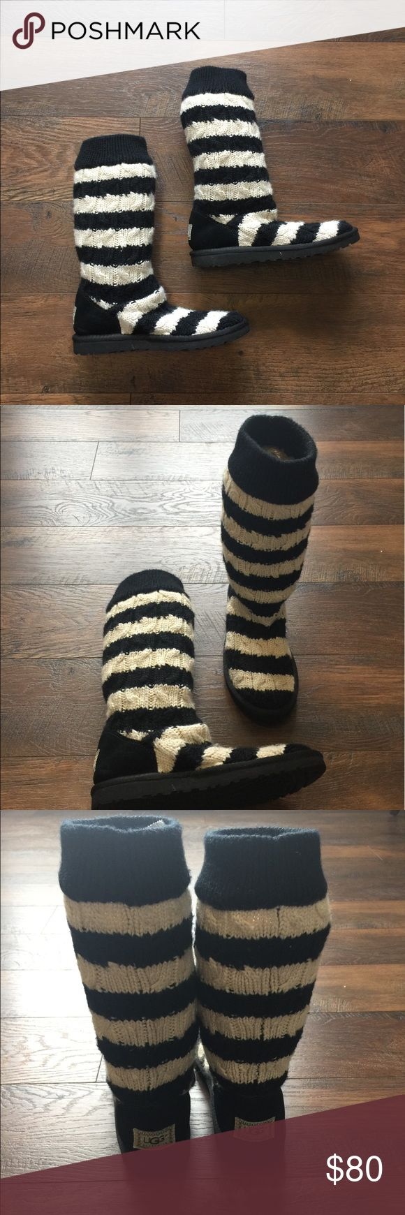 """UGG Australia Cable Knit Striped Boots Almost like new UGG Australia Cable Knit Striped Boots. Worn once. Original price tag still attached! Black and white striped sweater boots. Size 8. Do not have box. Can wear unrolled as seen in photos or rolled down. Genuine shearing footbed. 13"""" uncuffed and 7"""" cuffed. A favorite UGG style! UGG Shoes"""