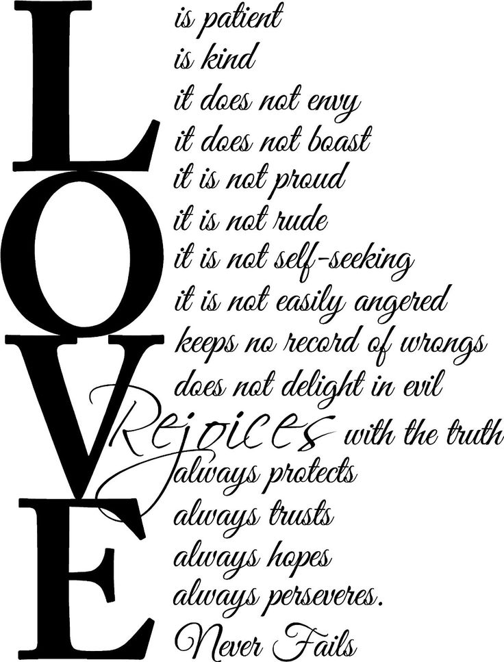 Love is patient, love is kind. It does not envy, it does not boast, it is not proud, it is not rude, it is not self-seeking, it is not easily angered, keeps no record of wrongs, does not delight in evil, rejoices with the truth, always protects, always trusts, always hopes, always peseveres. Love never fails 1 Corinthians 13:4, 7-8 religious wall quotes inspirational sayings vinyl decal art