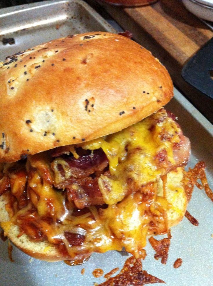 #SlowCooker BBQ Chicken Cheesy Bacon Sandwiches