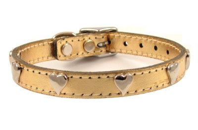 Metallic Gold Hearts Leather Dog Collar