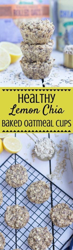Need an easy breakfast to prep for the week? Try these Healthy Lemon Chia Baked Oatmeal Cups! They're perfect for on the go or when you need something quick! #mealprep #oatmeal  | meal prep | breakfast meal prep | healthy breakfast | breakfast | baked oatmeal cups | baked oatmeal |