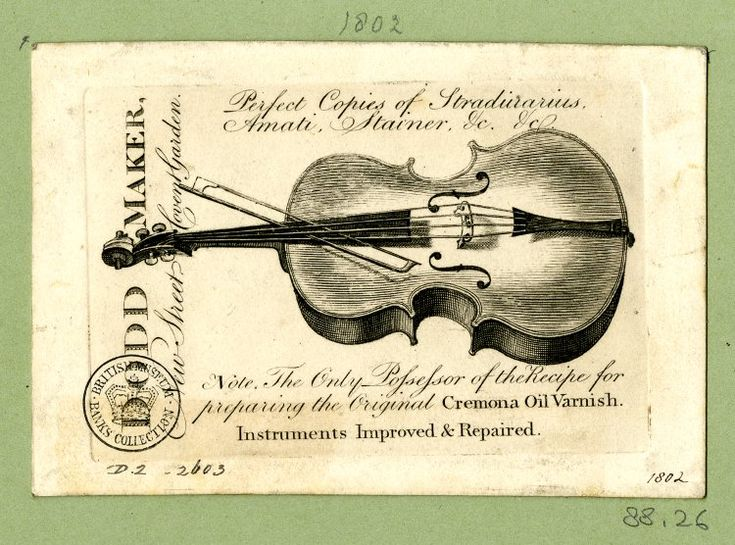 DRAFT Trade card of Dodd, musical instrument maker, London: