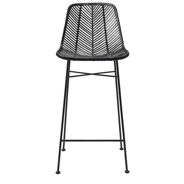 Old meets new in this uber classy rattan bar stool Rattan seat on black metal