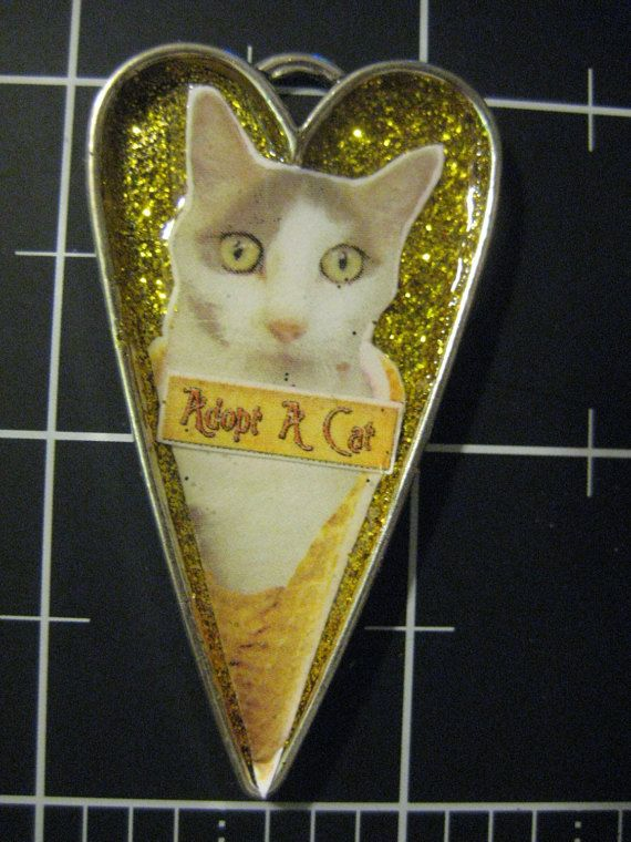 Adopt a Cat Kitty Cone Pendant 50% of the proceeds by scrappyrat