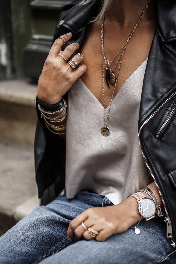 Silk cami tank, layered jewelry