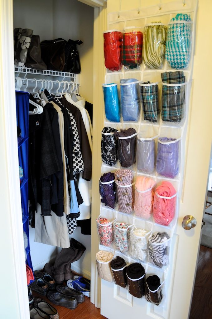 Finally, an inexpensive and practical scarf/hat/glove storage idea! Not sure why I didn't think about this before...