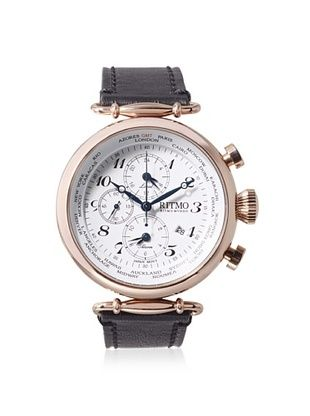 -39,800% OFF Ritmo Mundo Men's 704/3 RG Black/White Corinthian World Time Leather Watch