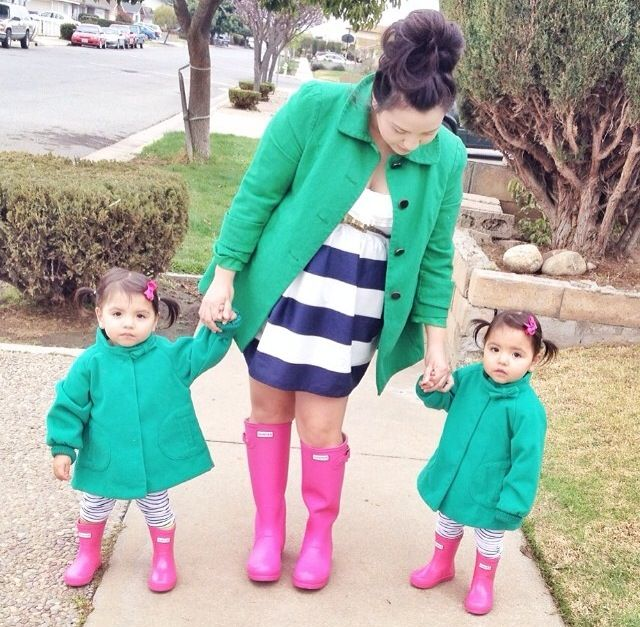 Mommy and Me matching pink hunter boots