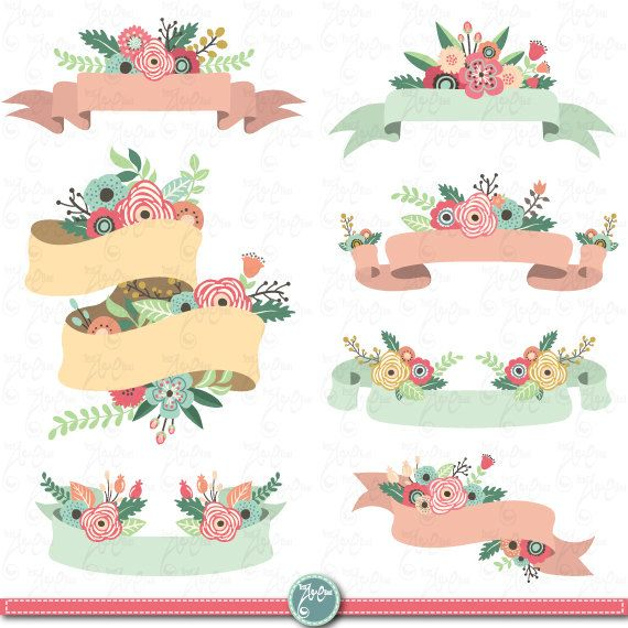 Flower Banner clipart:  FLOWER BANNER  clip art by YenzArtHaut