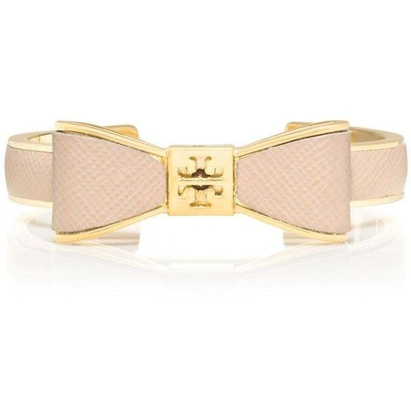 Tory Burch Metal And Leather Bow Cuff ($105) ❤ liked on Polyvore featuring  jewelry