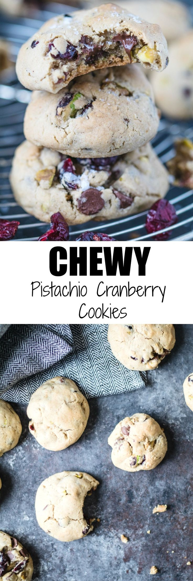 Chewy Pistachio Cranberry Cookies have just the right amount of saltiness and sweetness! |krollskorner.com