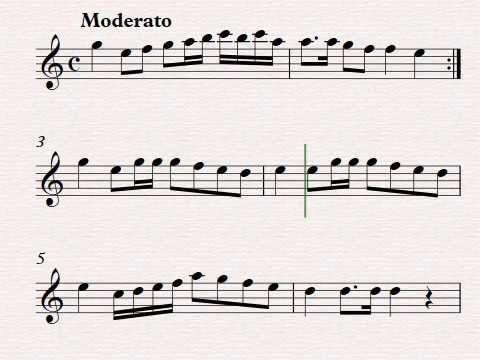 Dance de Tauste Marcha o Paseo. Partitura para flauta . dulce.Aragón.