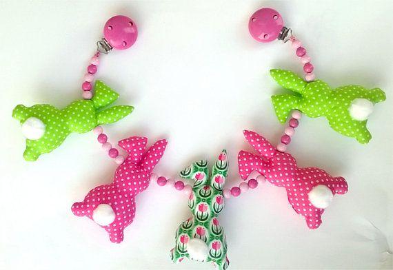 Pram toy. Stroller toy. Pram chain. Stroller chain. Pink & green toy. Sensory toy. Bunny toy. Bunny decor. Baby girl toy. Infant toy