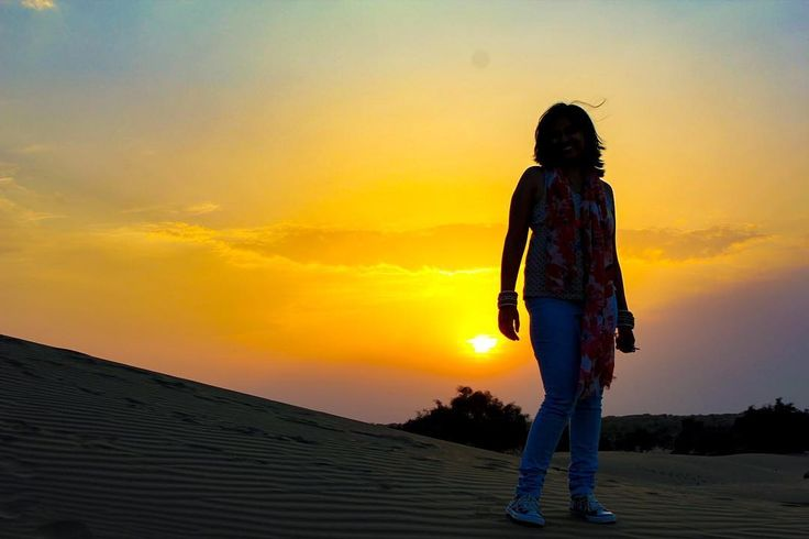 "Standing atop the golden sand dunes of Rajasthan "" Jaisalmer "" . . . #mumbaikar #Rajasthan  #travel #travelgram #travelogue #travelltales #sunset #golden #sillouette #beauty #india #india_gram #ilovetravel #destinationearth #travelblogger #igers #insta #instatravel #travel_captures"