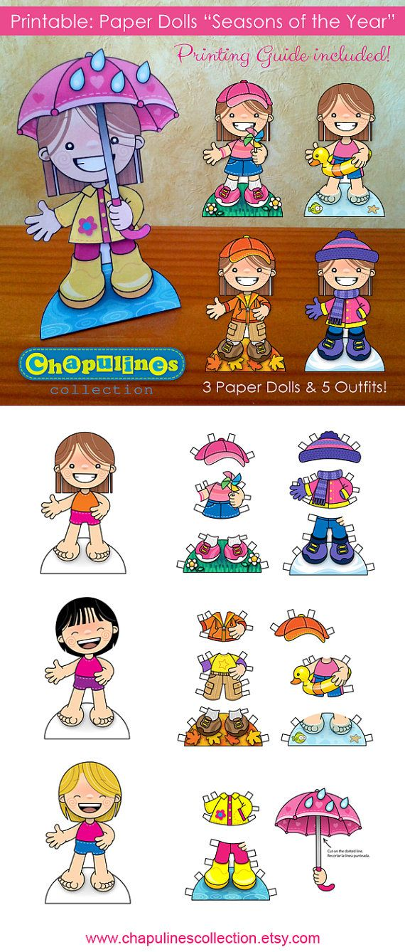 Paper Dolls - Printable - Seasons of the Year - Girls - Full Color - Set 021