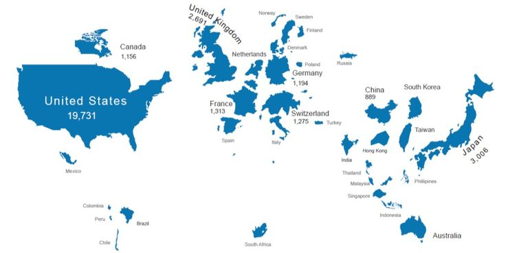 A map that shows the size of countries according to their market capitalization.