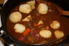 """Traditional German"""" Beer Braised Beef with Potato Dumplings""""   If you have never had this you don't know what you are missing ... the Dumplings are very light and favorful in the beefy meaty gravy . Trust me you want to try this."""