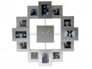 Zegar ścienny PT Family Time z 12 ramkami na zdjęcia srebrny  http://www.citihome.pl/zegar-scienny-pt-family-time-z-12-ramkami-na-zdjecia-srebrny.html