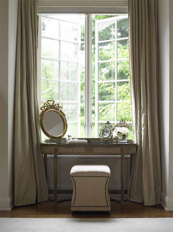 vanity decor gilded mirror on long draperies curtain panels gray