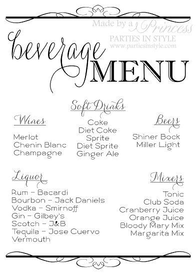 Beverage Menu Wedding Reception Sign